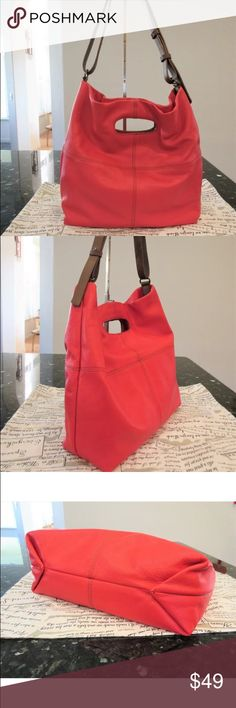 6b9e788bb4 Barr + Barr red leather Shoulder Bag Tote purse Genuine leather in red  Contrast stitches across