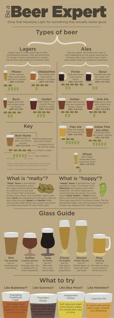 Infographic provides guidance for non-craft beer drinkers Beer Guide, types of beer, become a beer expert. Ever stand in the liquor store wondering what new beer to try yet thinking whether you will like it? All Beer, Wine And Beer, Beer 101, All About Beer, Good Beer, What Is Beer, Sake Wine, Beer Brewing, Home Brewing
