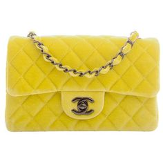 813ccc07bd0 View this item and discover similar handbags and purses for sale at - Chanel  yellow quilted velvet velour Small classic flap bag with gunmetal hardware