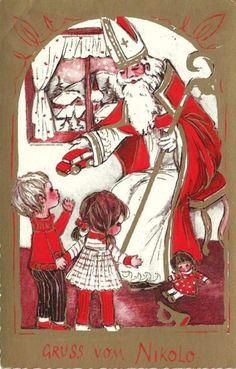 Postkarte - Gruss vom Nikolo ,with a doll