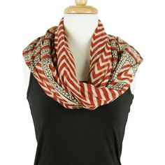 Hand Block Printed Soft Cotton Scarf - Red Chevron design. Has gorgeous fringed ends!