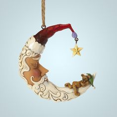 Crescent Moon Santa Ornament