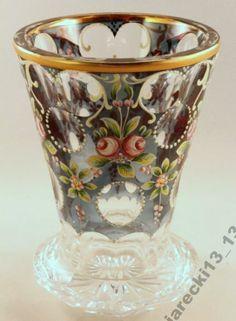 Wonderful Biedermeier pedestal vase/beaker crystal glass hand enamelled & hand painted, gilt, c. 1830