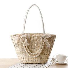 Women's Woven Tassel Pearl Lace Bow Beach Bag
