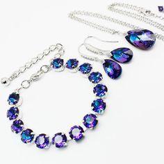 Purple Blue Jewelry Set White Gold, Earrings Necklace Bracelet, Pear Heliotrope Swarovski Crystal Bridesmaids Bridal Jewelry Cobalt Violet