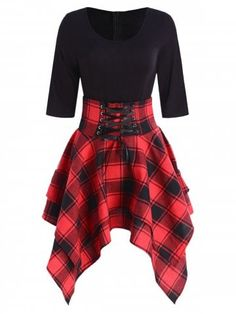 afa1cb8b7e Lace Up Plaid Asymmetrical Dress high low Occasion  Daily Style  Casual  Material  Cotton