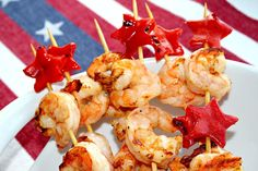 Patriotic Shrimp Skewers - cute idea!