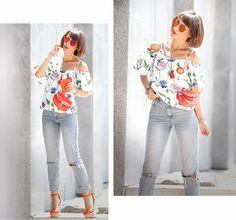hot summer days outfit with cold shoulder floral top and asos mom jeans