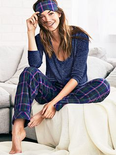 The Dreamer Henley Pajama The Dreamer Flannel Collection ink blot/navy plaid 54.5