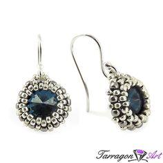 Kolczyki Beaded Swarovski Elements - Montana Blue | Tarragon Art - stylowa biżuteria artystyczna