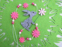 Garland coelho cor de rosa, rosa, feltro cinza