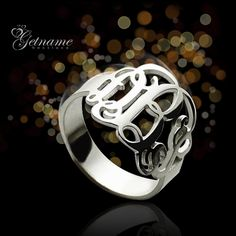 Personalized Gifts Ideas - Custom Monogram Ring in sterling silver, Order Now, Save 40% ! Discover More Monogrammed Jewelry at Getnamenecklace.com