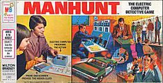 Manhunt - a board game from the 70s with a battery operated randomizer. I remember when my sister got this for Christmas and I got Parchesi :(