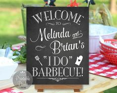 Welcome guests to your I Do Barbecue with this beautiful customized DIY printable sign! NOTE: This is not an editable template. I will do the customization of your design using the format and layout shown. Your completed design will be emailed to the address associated with your Etsy account in digital format for you to print on your own. No physical signage will be shipped to you. **Other than the names, no additional customization is included in the cost of this sign. If you require…