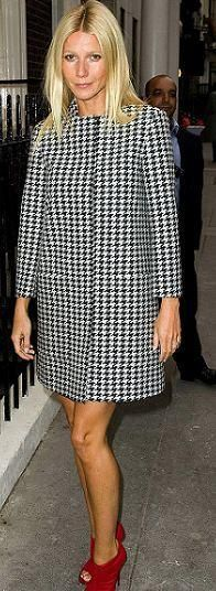 Who made Gwyneth Paltrow's red boots and black and white coat that she wore in London? Jacket – Stella McCartney  Shoes – Jimmy Choo