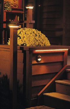 The easiest type of deck lighting to install is low-voltage. With this system, a transformer plugs into a high-voltage GFCI-protected outlet, but all the wires leading from the transformer to the lights are smaller, easier to install and safer to handle.    The post light shown here is one of many options. There are recessed lights you can inset into stairs, rope lights you can tuck under ledges, surface-mount lights for general lighting, in-ground lights and more.