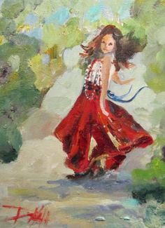 Figurative gypsy paintings   Gypsy Dance, music landscape, original painting by artist Delilah ...