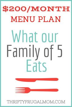 Frugal meal planning is a great way to keep your grocery budget under control! Check out this menu plan showing what our family of 5 eats on a $200/mo. grocery budget.