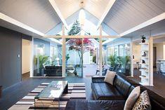 Double Gable Eichler Remodel midcentury living room