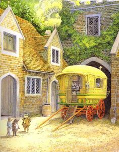 Illustration by Inga Moore for The Wind in the Willows, by Kenneth Grahame.- If I ever do get a glamping trailer, I shall paint it to resemble Toad's gypsy wagon. Fairytale Art, Children's Book Illustration, Book Illustrations, Children's Literature, Childrens Books, Woodland, Book Art, Fairy Tales, Fantasy