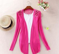 Spring New Style 2017 Summer Autumn Jackets Girl Women's Outerwear Lace Candy Color Crochet Knit Blouse Sweater Winter Coat