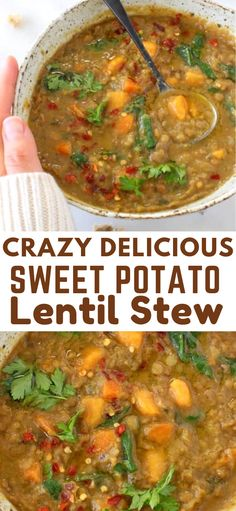 Sweet Potato Lentil Stew Earthy Moroccan Sweet Potato Lentil Stew recipe with cumin, coriander and smoked paprika. Hearty, detoxing and loaded with protein and micro nutrients from fresh kale and spinach, this recipe needs to be on repeat all winter long. Cooker Recipes, Soup Recipes, Vegetarian Recipes, Healthy Recipes, Best Lentil Recipes, Vegetarian Stew, Recipies, Vegan Stew, Vegan Soups