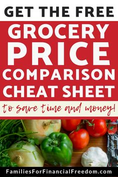 How to Use a Grocery Price Comparison Cheat Sheet to Save Money! – Families for Financial Freedom – Finance tips, saving money, budgeting planner Free Groceries, Save Money On Groceries, Ways To Save Money, Money Saving Meals, Best Money Saving Tips, Money Tips, Frugal Living Tips, Frugal Tips, Frugal Meals