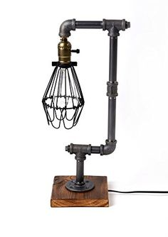 Bird Cage Designer Steampunk Water Piping Desk Top Table Lamp Real Wood Base Rustic Home Deco Steam Punk Industrial Loft Interior Design Bedside Minimalist Victorian Edison Iron Retro Lighting Lamps