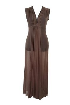 Victorian Style Brown Evening Cap Sleeves Maxi Dress Created by Michal Negrin Fashioned with V-Neck, Fitted Bustline, Pleated Front and Lace Trim ; Handmade in Israel - Size S Michal Negrin,http://www.amazon.com/dp/B008N2SP6S/ref=cm_sw_r_pi_dp_SMplrb1NAR4VCP5V