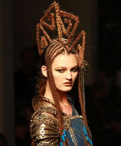 Jean Paul Gaultier Fall/ Winter 2010 hair styles.  I can't make up my mind about this one; it's obviously not for daily wear, simply a show piece; but would I wear it in Second Life...?