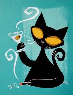 The Art Of El Gato Gomez - MCM style art Stylized Black Cat with Martini Black Cat Art, Black Cats, Mid Century Modern Art, Cat Drawing, Retro Art, Vintage Design, Crazy Cats, Cool Cats, Bunt