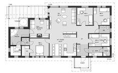 Tilava yksikerroksinen koti, jossa ripaus luksusta. Neljä makuuhuonetta, joista suurin on talon toisella reunalla omassa rauhassaan. Sen yhteydessä on tilava vaatehuone ja kulku suoraan wc- ja pesutiloihin. Pesutiloihin pääsee myös takkahuoneen kautta, jossa tunnelmaa nimen mukaan luo tulisija. Tilasta on kulku terassille, jossa on suojaisa paikka paljulle. Pesuhuoneessa on optio poreammeelle. Ruokailutilaan mahtuu isompikin pöytä.... Read more » Humble Abode, House Floor Plans, My House, Sims, Sweet Home, Indoor, Layout, Flooring, How To Plan