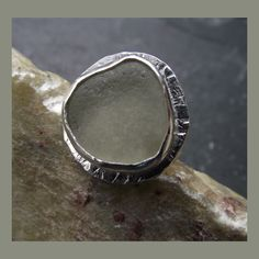 Sea Glass Sterling silver adjustable ring £38.00