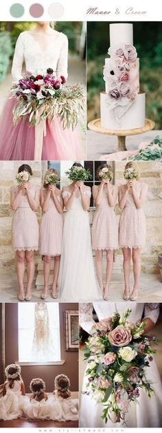 Romantic Mauve and White Cream Wedding Color Inspiration