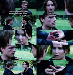The Hunger Games. ♡ but it's kinda creep cuz Peeta's just awkwardly touching katniss' braid