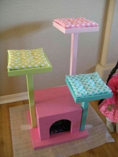 Items similar to Cat Tree - Cat House - Cat Bed for American Girl Doll Pets - in Rainbow Colors on Etsy Pet Beds, Dog Bed, American Girl Diy, American Lady, Cat Enclosure, Cat Room, Cat Condo, Pet Furniture, Animal Projects