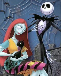 Sally and Jack. A Nightmare Before Christmas.