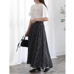 《30%OFF》I-SOOK|ドットフレアロングスカート ブラック Waist Skirt, High Waisted Skirt, Skirts, Fashion, Moda, High Waist Skirt, Fashion Styles, Skirt
