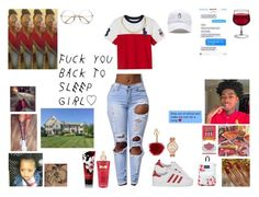 """Red Saucyy❤"" by queen-imani ❤ liked on Polyvore featuring adidas Originals, Ralph Lauren, Versace, JanSport, Victoria's Secret, Michael Kors and Kennett"