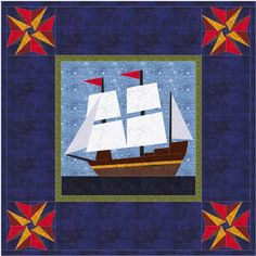 As every school-age American child knows, the Mayflower was the grand 17th century merchant sailing ship who brought the Pilgrims from England to the New World. This paper pieced version is especially good for gifts for boys, both young and old, depending on the chosen fabrics.  Enlarged to 24 inches, Mayflower makes a spectacular central medallion for a wall-hanging for a den, or a bed…