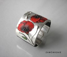 jolanta bromke,sterling silver,painted leather,thread,beads,Bracelet with poppies