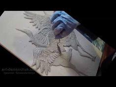 """Курс по созданию объемного панно """"Журавли"""" 2 часть (видео - поэтапно) - YouTube"""