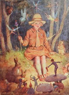 Miss Jane: November Queen of the Brownies by Margaret Tarrant. via nurdan kanber. Vintage Fairies, Vintage Art, Sprites, Baumgarten, Fairytale Art, Flower Fairies, Children's Book Illustration, Book Illustrations, Fairy Art