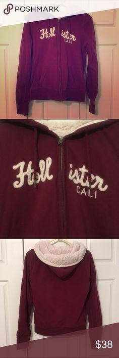 LAST CHANCE! Hollister FauxFurLined FullZip Hoodie Hollister Faux Fur Lined Full Zip Hoodie in Burgundy. Women's Large. EUC. Hollister Tops Sweatshirts & Hoodies