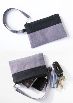 Zip pouch purse tutorial. Like the way the strap is constructed.