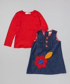 Another great find on #zulily! Blue & Orange Denim Dress & Tee - Toddler & Girls #zulilyfinds