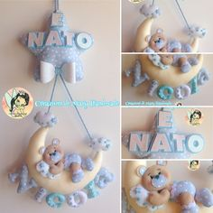 Creazioni di Mary Handmade su Bebuù: Fiocco nascita Luna orsetto baby Baby Mobile Felt, Felt Baby, Baby Shawer, Baby Art, Baby Crafts, Felt Crafts, Diy And Crafts, Crafts For Kids, Felt Wreath