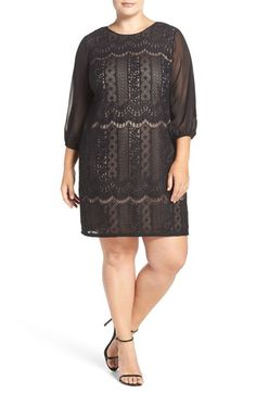 Adrianna Papell Stripe Lace Shift Dress (Plus Size) available at #Nordstrom
