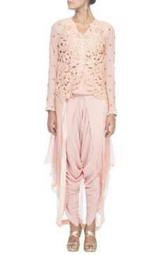 PINK CUTWORK CORSET WITH DHOTI PANTS