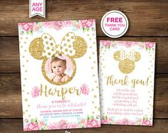 1st Birthday Invitations, Minnie Mouse First Picture, Party, Printable, Gold Pink, Photo Invites, Second 2nd, Instant Download, Digital, PDF